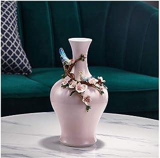 Living Decoration Jarrón para decoración del hogar Juego de jarrones de color rosa Jarrón con tapa Artículos para el hogar...