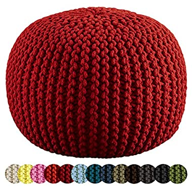 Cotton Craft - Hand Knitted Cable Style Dori Pouf - Red - Floor Ottoman - 100% Cotton Braid Cord - Handmade & Hand stitched - Truly one of a kind seating - 20 Dia x 14 High