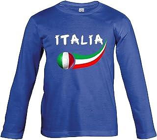 Supportershop - T-shirt Italië blauw, lange mouwen, kinderen, voetbal