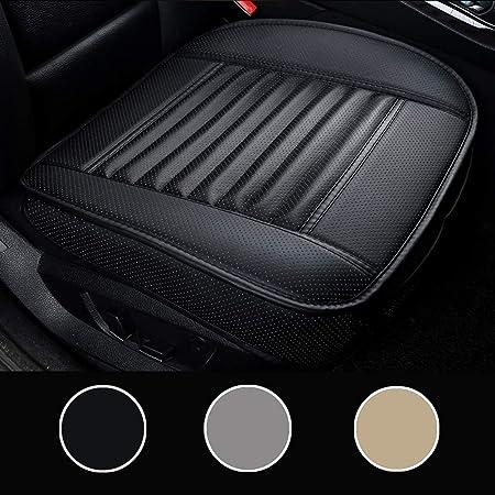 Luollove Autositzbezüge Pu Leder Bambus Kohle Atmungsaktiv Kompatibel Für 90 Modelle Vordersitz 2stücke Schwarz 20 5 X 20 1 In Auto