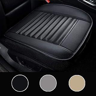 LUOLLOVE Autositzbezüge PU Leder Bambus Kohle atmungsaktiv kompatibel für 90% Modelle Vordersitz,2Stücke (Schwarz 20.5 x 20.1 In)