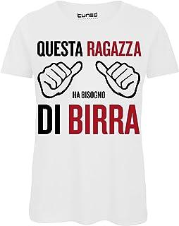 Colore: Bianco CHEMAGLIETTE T-Shirt Divertente Donna Maglietta con Stampa Frasi Ironiche Pratico Ansia Tuned p Taglia: M