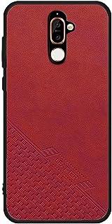 حافظة لهاتف نوكيا 7 بلس جلد ناعم غطاء حماية سيليكون - احمر