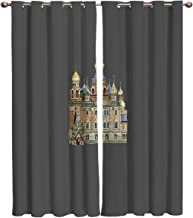 Blackout Curtains Window Treatment Drapes, Retro Saint Basil's Cathedral Printing Unlined Thermal Insulated Blackout Window Curtain Panels,Set of 2 Panels 27.5×39in×2