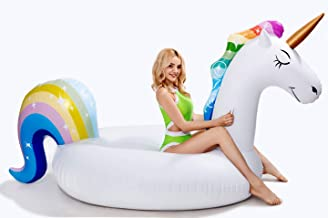 dreambuilderToy Giant Inflatable Unicorn Pool Float, 9 Feet Long , Unicorn Pool Float Floatie Ride On Large raft Summer Beach Pool Party Lounge for Kids and Adults (Unicorn Float)