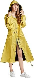 Freesmily Women's Stylish Long Rain Poncho Waterproof Rain Coat with Hood and Multi Color Pattern