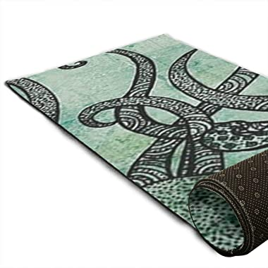 Green Octopus Print Area Rug Hallway Runner Rug Living Room Rugs Carpet Entry Rugs Room Bedroom Rug, 70'' X 24''