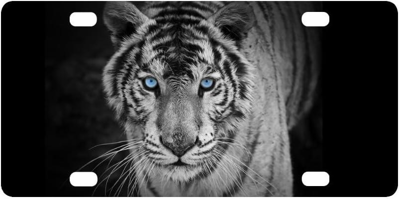 INTERESTPRINT White Tiger Cool Animal Plate for Ca Mesa Mall License Omaha Mall Metal