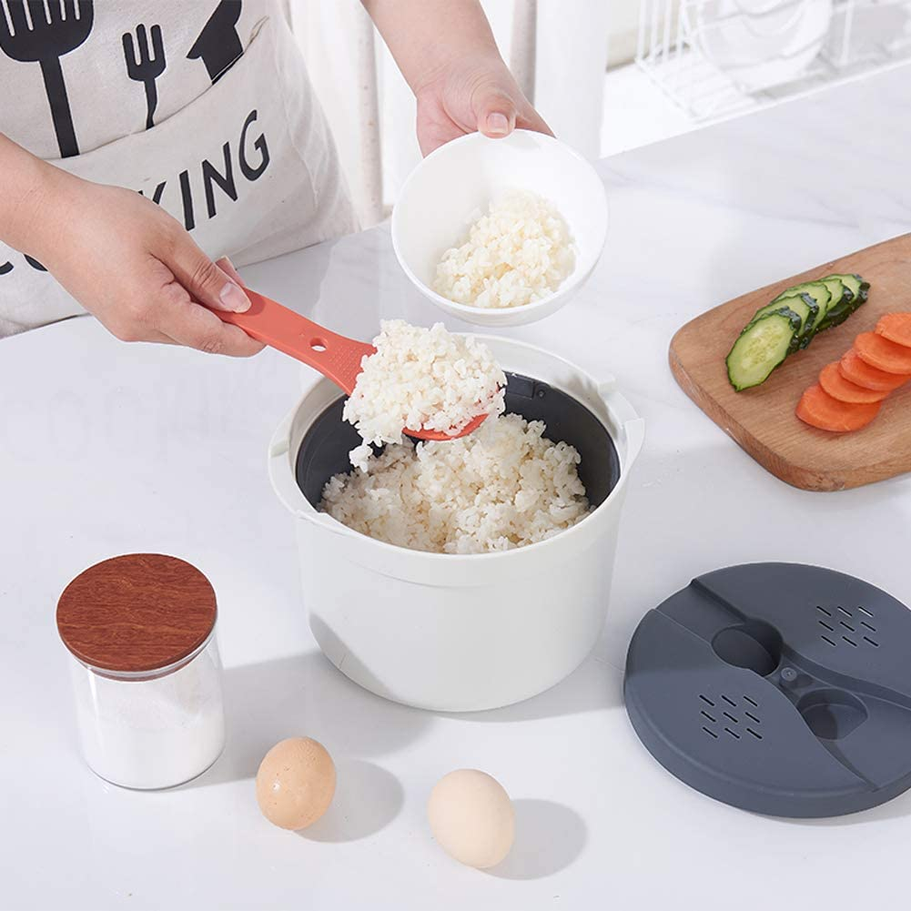 Four À Micro-Cuiseur À Riz Et À Vapeur, Une Batterie De Cuisine Multifonctionnel avec Couvercle Passoire Et Une Cuillère pour La Cuisine À La Maison,Vert Orange
