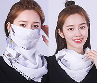 Reusable Chiffon Printing with Silk Scarf. Comfy Breathable Safety Air Fog, Sunscreen Masks Neck Protector for Women, Protection Pollution Face Flu Allergens, UV Sun Protection Mask (white)