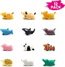 Xtozon 12 Pcs Charger Bites, Cute Animal Cable Protector, Cable Buddies Charging Cords Mini Cartoon USB Cord Accessory