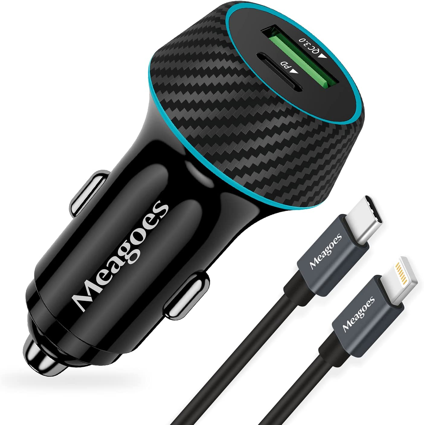 Fast USB C Car Charger, Meagoes 48W Dual Rapid Charging Adapter with PD3.0&QC3.0, Compatible with Apple iPhone 13/12/Pro/Max/Mini/11/XS/XR/X/8 Plus/SE - 3.3ft MFi Certified Type C to Lightning Cable