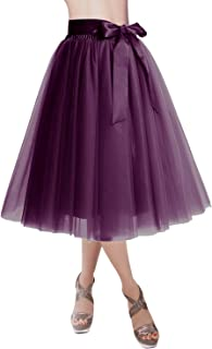 DRESSTELLS Knee Length Tulle Skirt Tutu Skirt Evening Party Gown Prom Formal Skirts