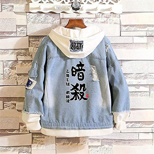 LKKOY 3D-Sweatshirt Unisex Herren Jacke Anime Hoodie Jeansjacke Unisex Cosplay Denim Jacket Outwear Mäntel Re:Life in a Different World from Zero Blue,M