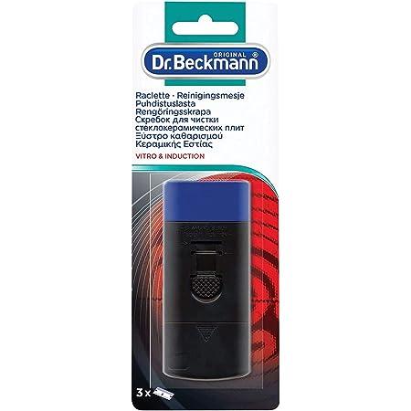 Dr. Beckmann - Raclette Plaque Vitrocéramique & Induction + 3 lames - Elimine les saletés tenaces et incrustées - Contient 2 lames de rechange