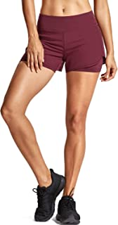 CRZ YOGA Women's Running Workout Shorts with Liner 2 in 1 Athletic Sport Shorts with Zip Pocket-4 inch