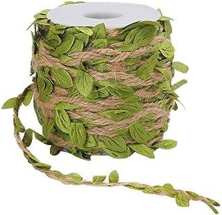Tenlacum 10 m natürliches Jute-Bindfaden, Hanfseil, 5 mm Juteblattband, künstliche Weinreben, grüne Blätter, schönes Blattband, gemischtes Strickseil, Hochzeit, Haus, Garten