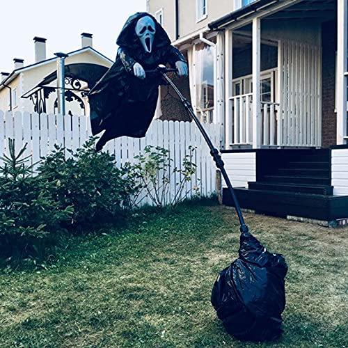 VELIHOME Decoração de espantalho gigante para triste, espantalho fantasma, covarde não é recomendado para comprar, fantasma pendurado, grito assustador, Halloween, espantalho, jardim, árvore de quintal
