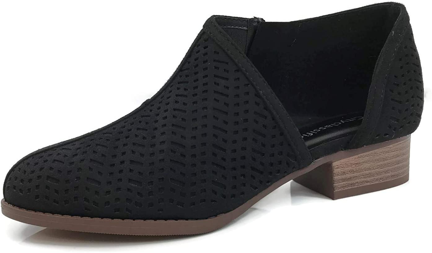 Womens Ankle Bootie D'Orsay Cut Out Perforated Open Side Closed Toe