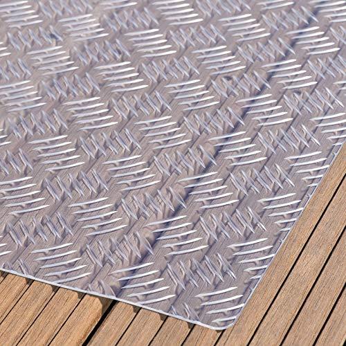 Paderbest24 Bodenschutzmatte Grillunterlage Grillschutzmatte (4 Farben zur Auswahl) mit Riffelblechoptik 150x100cm (TRANSPARENT)