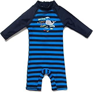 Baby One Piece Zip Swimsuit with Sun Hat Toddler UPF 50+ Sun Protection Beach Sunsuit