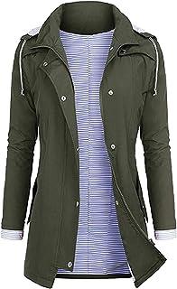Stgfstydt Womens Outdoor Hooded Waterproof Raincoat Basic Windbreaker Sport Jacket
