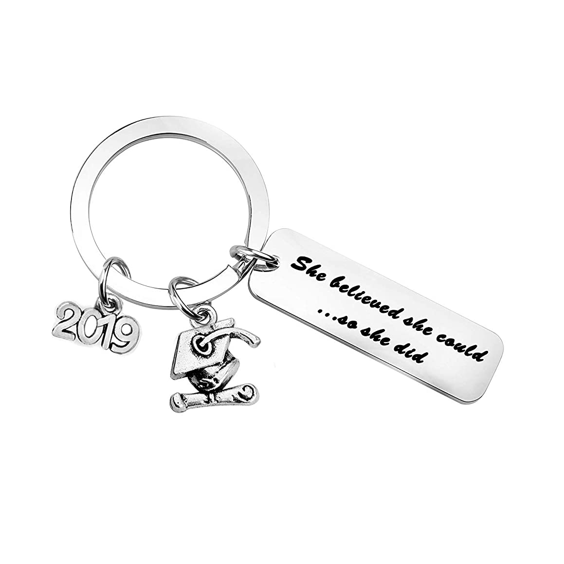 MYOSPARK 2019 Graduation Gift She Believed She Could So She Did Graduation Keychain Inspirational Gift for New Graduate