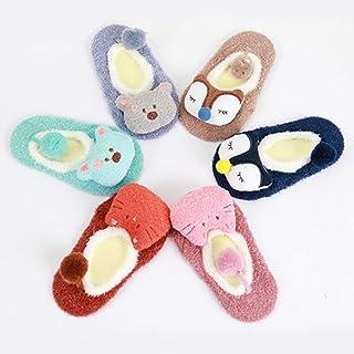 TZOU Baby Boys Girls Warm Anti-Slip Socks Cute Cartoon Animal Socks Baby Shower Gifts Khaki Fox S(0-1 Years Old)