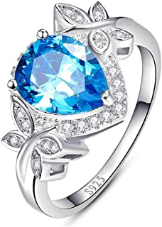 BONLAVIE 3.85ct Pear Cut Created Swiss Blue Topaz & CZ Halo Promise Engagement Ring 925 Sterling Silver