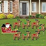 Big Dot of Happiness Santa's Reindeer - Yard Sign and Outdoor Lawn Decorations - Santa Claus Christmas Yard Signs - Set of 8