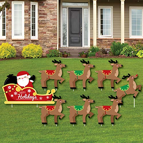 Big Dot of Happiness Santa's Reindeer - Yard Sign and Outdoor Lawn Decorations - Santa Claus Christmas Yard Signs - Set of 8