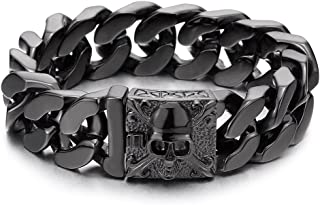 Mens Large Stainless Steel Curb Chain Bracelet with Fleur...