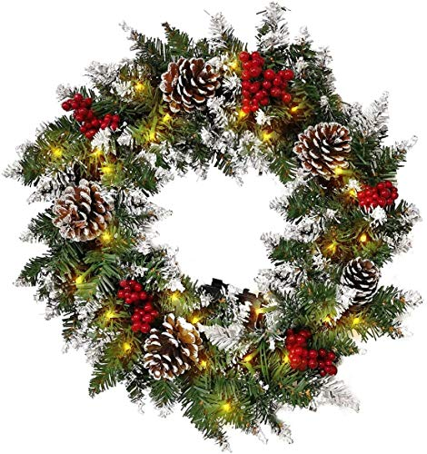 Showvigor Christmas Wreaths for Front Door - Prelit Xmas Wreath with Lights Battery Operated, Lighted Wreaths for Outdoors Cars, Pre-Strung 50 LED Lights Artificial Christmas Wreath(24in)