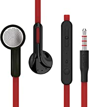 UiiSii U2Bass Auriculares cancelación de Ruido Cable Plano Auriculares In-Ear con micrófono y Control de Volumen para iPhone Samsung iPod Reproductor de música (Rojo)