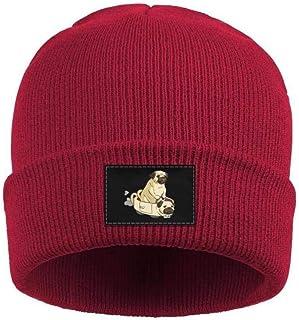 HJianyin Man Pug Dog Drink Beer Wool Beanie Cap Winter Hats Slouchy Beanie