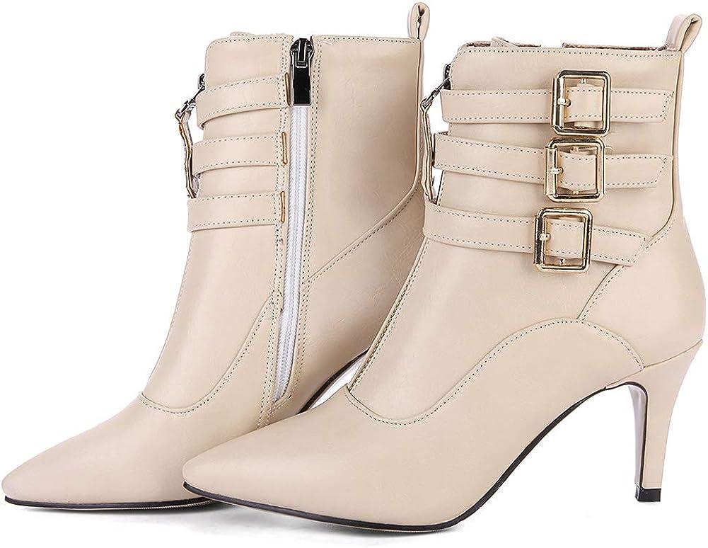 cynllio Women's Kitten OFFer Heels Mutil Po Buckle Surprise price Strap Booties Ankle
