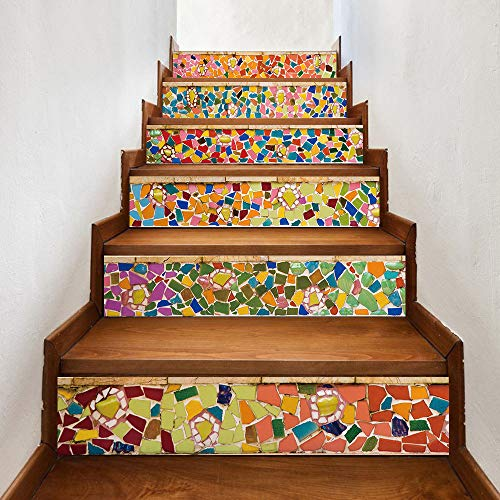 TZUTOGETHER auto-adhésifs Escalier Riser Stickers, autocollant escalier contremarche, Décalcomanies d'escalier 3D de salle de bain, autocollant mural amovible étanche à la maison (6pcs 100*18cm) (B)