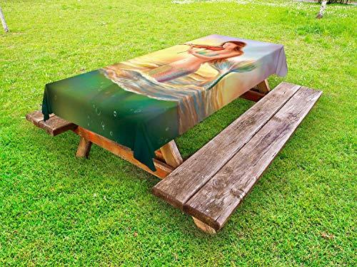 ABAKUHAUS Meermin Tafelkleed voor Buitengebruik, Mermaid Spelen Viool, Decoratief Wasbaar Tafelkleed voor Picknicktafel, 58 x 84 cm, Veelkleurig