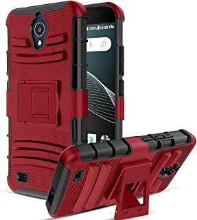 CaseBing for AT&T AXIA(QS5509A) Case, [Heavy Duty][Built-in Kickstand][Dual Layer] Non-Slip Shock Absorption Reinforced Corner Hybrid Full-Body Protective Case Cover-PC-Red
