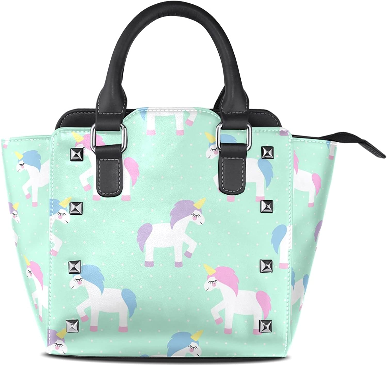 Sunlome Cute Cartoon Unicorn Mint Green Polka Dots Print Handbags Women's PU Leather Top-Handle Shoulder Bags