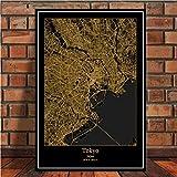 NVRENHUA Impresiones de carteles Amsterdam Tokio Barcelona Modern World City Gold Map Tour Pinturas Art Wall Pictures Decoración del hogar 40 * 60CM Sin marco
