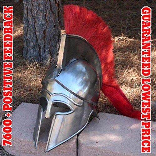 QUALITYMUSICSHOP Greek Corinthian Athenian Spartan Hoplite Warrior Helmet and Red Plume sba81