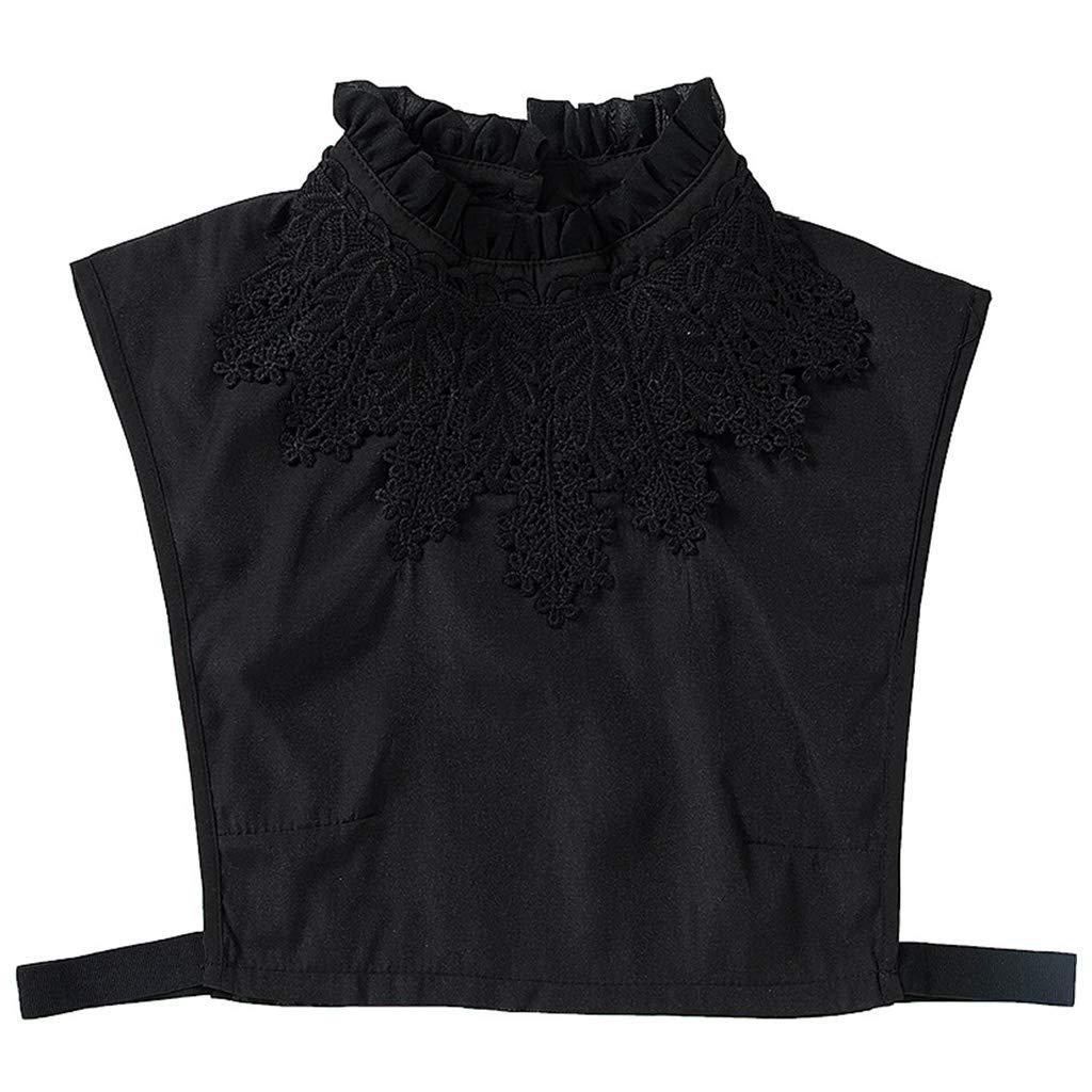 CADANIA Blusa de niña para Mujer Cuello Alto con Volantes Falsos Crochet Apliques de Encaje Floral Decoración Color sólido Señoras Desmontables Camisas Medias elásticas Negro: Amazon.es: Hogar