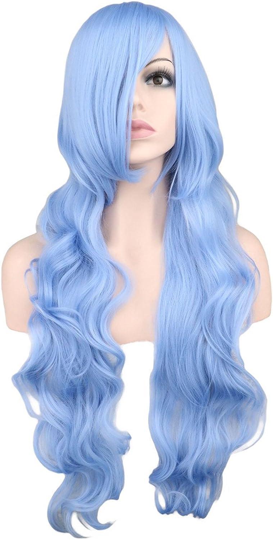 WIAGHUAS Long Wavy Cosplay Perruque Femmes Hommes Parti Bleu Clair 80 Cm Synthétique Perruques de Cheveux 28 Pouces