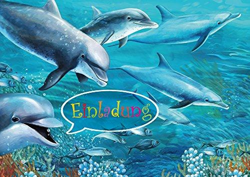 EDITION COLIBRI (10690) uitnodigingen voor kinderen, meisjes en jongens: set van 10 dolfijnen uitnodigingskaarten voor kinderverjaardag of zwembad