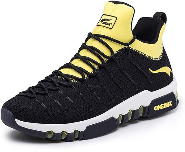 Hommes et Les Femmes de Coussin d'air Chaussures Casual, AntidéRapant RéSistant à l'usure des Amortisseurs Couple Chaussures de Sport, Chaussures de Promenade,noirjaune,38
