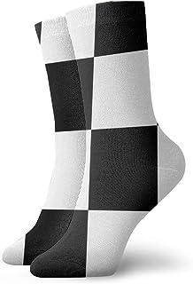 2つの白黒の市松模様の正方形の流行の多彩でファンキーなパターン化された綿の服のソックス11.8インチ