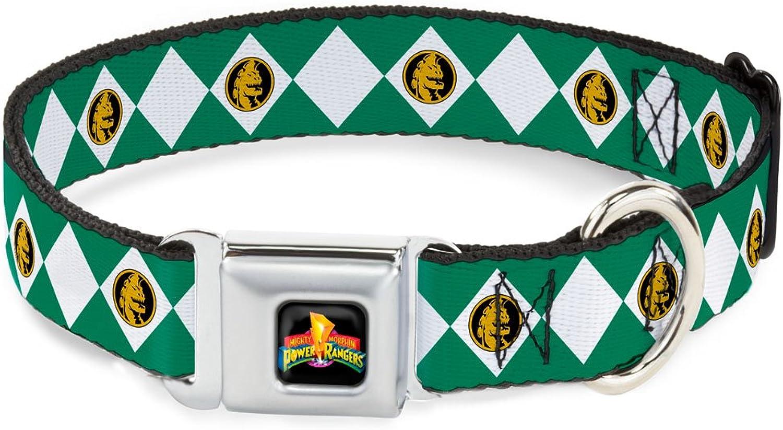 BuckleDown DCWPR008WS Dog Collar Seatbelt Buckle, Diamond Green Ranger, 1.5  by 1318