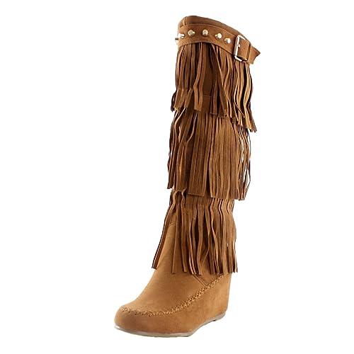 58efc205d69 Nature Breeze Womens Bridget Knee High Moc-Toe Wedge Boots