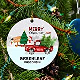 Greenleaf Ornament Wisconsin Ornaments Christmas City State Ornament Christmas Tree Ornament 2020 Gifts for Family Friends Long Distance Love Decoration for Xmas 3' White